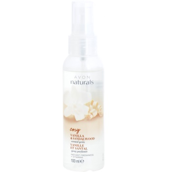 Avon Naturals Fragrance spray rinfrescante corpo alla vaniglia e legno di sandalo (Cosy) 100 ml