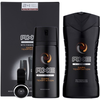"Axe Dark Temptation kit regalo I deodorante in spray 150 ml + gel doccia 250 ml + grandangolo ""fish eye"" per smartphone"