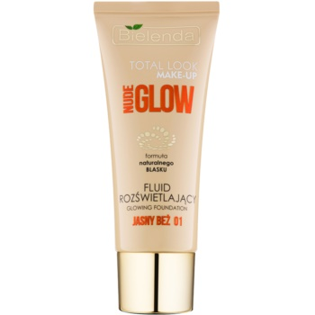 Bielenda Total Look Make-up Nude Glow fondotinta liquido illuminante colore Light Beige 01 30 g