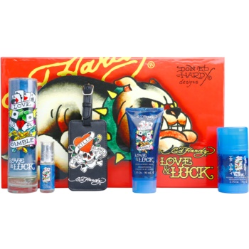 Christian Audigier Ed Hardy Love & Luck Man kit regalo I eau de toilette 100 ml + eau de toilette 7,5 ml + gel doccia 90 ml + deo-stick 78 g + etichetta per valigia