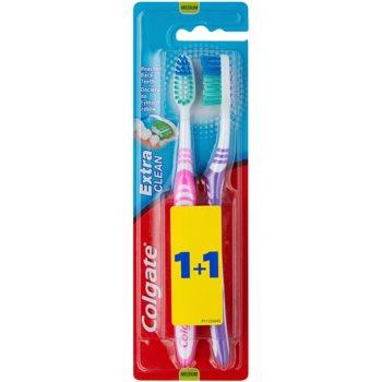 Colgate Extra Clean spazzolini da denti medio duri 2 pz Pink & Violet (Reaches Back Teeth)