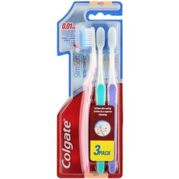Colgate Slim Soft Ultra Compact spazzolini da denti soft 3 pz Pink & Green & Violet (0,01 mm Ultra Soft Tip Bristles for a Superior Cleansing)