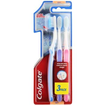 Colgate Slim Soft Ultra Compact spazzolini da denti soft 3 pz Blue & Violet & Pink (0,01 mm Ultra Soft Tip Bristles for a Superior Cleansing)