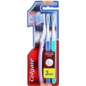 Colgate Slim Soft Ultra Compact spazzolini da denti soft 3 pz Violet & Blue & Green (0,01 mm Ultra Soft Tip Bristles for a Superior Cleansing)