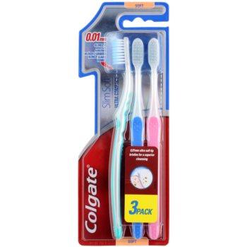 Colgate Slim Soft Ultra Compact spazzolini da denti soft 3 pz Green & Blue & Pink (0,01 mm Ultra Soft Tip Bristles for a Superior Cleansing)