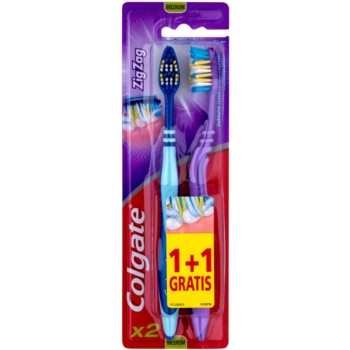 Colgate Zig Zag spazzolini da denti medio duri 2 pz Blue & Violet (Deep Interdental Clean)