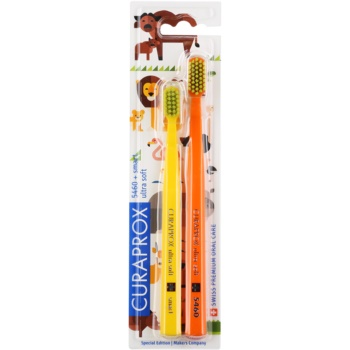 Curaprox 5460 Ultra Soft Animal Family Edition spazzolini da denti 2 pz Orange & Yellow (CS Ultra Soft 5460 + Ultra Soft Smart)