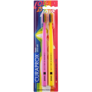 Curaprox 5460 Ultra Soft Rainbow Edition spazzolini da denti 2 pz Pink & Yellow (Limited Edition)