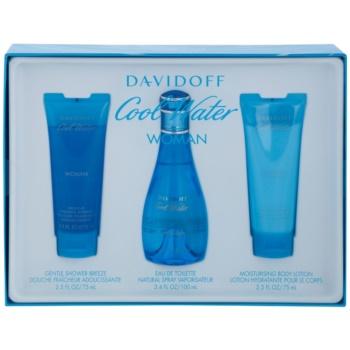 Davidoff Cool Water Woman kit regalo X eau de toilette 100 ml + latte corpo 75 ml + gel doccia 75 ml