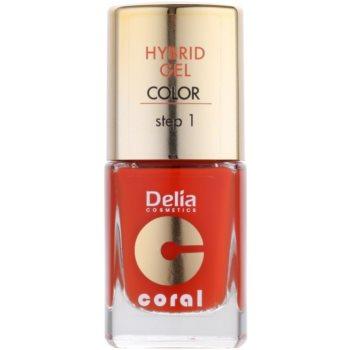 Delia Cosmetics Coral Nail Enamel Hybrid Gel smalto gel per unghie colore 02 (Step 1) 11 ml
