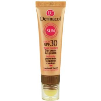 Dermacol Sun Water Resistant crema abbronzante waterproof viso e balsamo per labbra SPF 30 (Water Resistant Sun Cream & Lip Balm) 30 ml