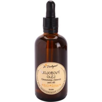 Dr. Feelgood BIO and RAW olio di jojoba per tutti i tipi di pelle, anche quelle sensibili (Simmondsia Chinensis Seed Oil, BIO, RAW) 100 ml
