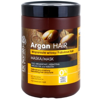 Dr. Santé Argan maschera in crema per capelli rovinati (Argan Oil and Keratin, Intensive Care, Tree-Step Regeneration) 1000 ml