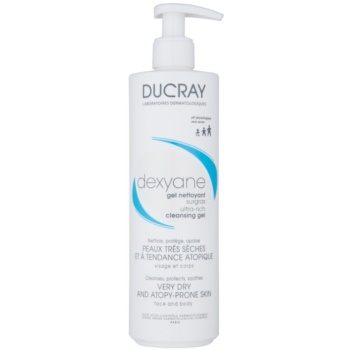 Ducray Dexyane gel detergente per viso e corpo per pelli secche e atopiche Paraben Free, Soap Free, Fragrance Free, Physiological pH – Hypoallergenic (Extra Rich) 400 ml