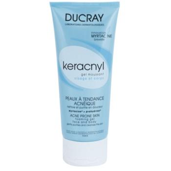 Ducray Keracnyl gel detergente in schiuma per pelli grasse con tendenza all'acne (Foaming Gel - Face And Body) 200 ml