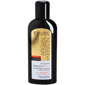 Eveline Cosmetics Argan + Keratin shampoo 8 in 1 Comprehensive Restoration + Colour Protection (Coloured, Highlighted and Gamaged Hair) 150 ml