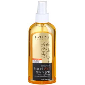 Eveline Cosmetics Argan + Keratin olio per capelli 8 in 1 150 ml
