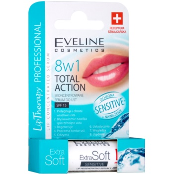 Eveline Cosmetics Extra Soft Sensitive balsamo labbra SPF 15 (8 in 1 Total Action)