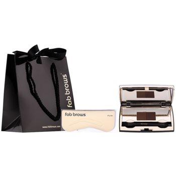 FAB Brows Duo kit per sopracciglia colore Ligh/Medium (Brush, 6 pcs Stencils, Eyebrow Powder) 2,85 g