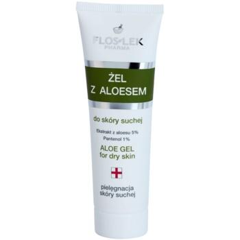 FlosLek Pharma Dry Skin Aloe Vera gel rigenerante per viso e décolleté (Aloe Extract 5%, Panthenol 1%) 50 ml