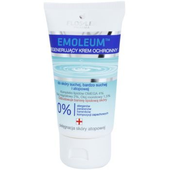 FlosLek Pharma Emoleum crema rigenerante e protettiva per viso e corpo (Omega Lipid Complex 4%, Almond Oil 2%, Apricot Oil 1,5%) 75 ml