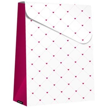 Giftino borsa regalo pieghevole grande - Purple Hearts (280 x 80 x 220 mm)