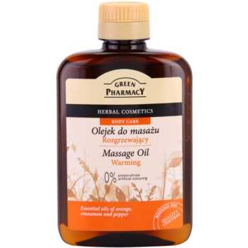 Green Pharmacy Body Care olio massaggio riscaldante Essential Oils of Orange, Cinnamon and Pepper (0% Preservatives, Artificial Colouring) 200 ml
