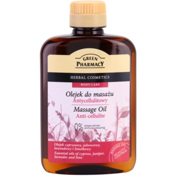 Green Pharmacy Body Care olio per massaggi anticellulite Essential Oils of Cypress, Juniper, Lavender and Lime (0% Preservatives, Artificial Colouring) 200 ml