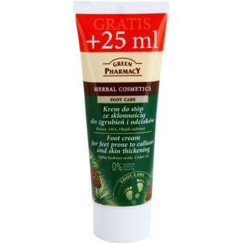Green Pharmacy Foot Care crema per i piedi con tendenza alle callosità e agli ispessimenti Alpha Hydroxy Acids, Cedar Oil (0% Parabens, Artificial Colouring) 75 ml