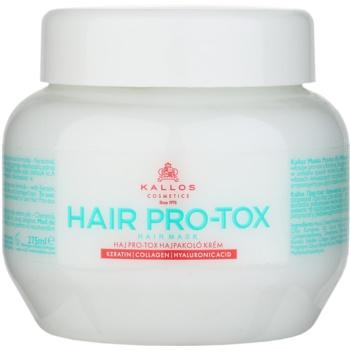 Kallos KJMN maschera idratante e nutriente per capelli rovinati e secchi (Hair Mask Cream with Keratin, Collagen and Hyaluronic Acid) 275 ml