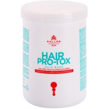 Kallos KJMN maschera idratante e nutriente per capelli rovinati e secchi (Hair Mask Cream with Keratin, Collagen and Hyaluronic Acid) 1000 ml