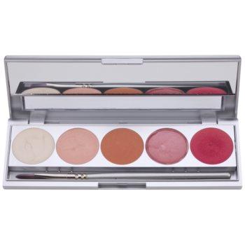 Kryolan Basic Face & Body palette di illuminanti per viso e corpo 5 colori con specchietto e applicatore colore Emotion 9,5 g