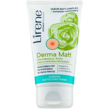 Lirene Derma Matt gel detergente normalizzante con effetto esfoliante 150 ml
