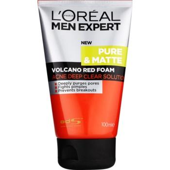 L'Oréal Paris Men Expert Pure & Matte mousse di pulizia profonda anti-acne (Volcano Red Foam) 100 ml