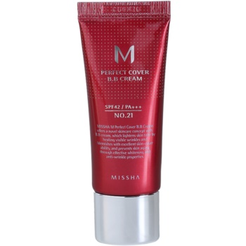 Missha M Perfect Cover BB cream ad alta protezione UV confezione piccola colore No. 21 Light Beige SPF 42/PA+++ 20 ml