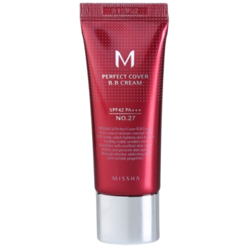 Missha M Perfect Cover BB cream ad alta protezione UV confezione piccola colore No. 27 Honey Beige SPF 42/PA+++ 20 ml