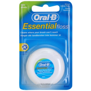 Oral B Essential Floss filo interdentale cerato aromatizzato alla menta (Waxed Dental Floss) 50 m