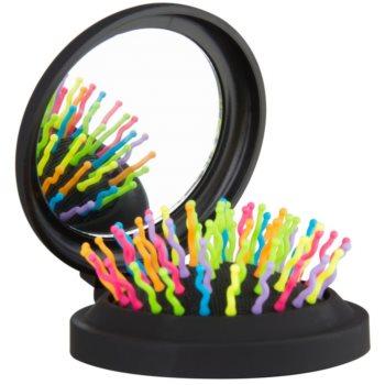 Rainbow Brush Pocket spazzola per capelli con specchietto Black