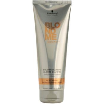 Schwarzkopf Professional Blondme shampoo rinforzante per sfumature biondo caldo (Color Enhancing Blonde Shampoo Rich Caramel Revives Warm Blondes) 250 ml