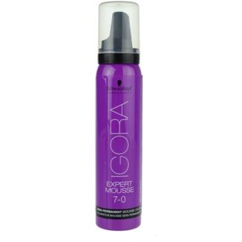 Schwarzkopf Professional IGORA Expert Mousse schiuma colorante per capelli colore 7-0 Medium Blond (Semi-Permanent Mousse Color) 100 ml
