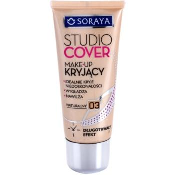 Soraya Studio Cover fondotinta coprente con vitamina E colore 03 Natural (Long Lasting, Covers Imperfections, Smoothes and Moisturizes) 30 ml