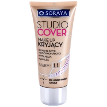 Soraya Studio Cover fondotinta coprente con vitamina E colore 11 Beige (Long Lasting, Covers Imperfections, Smoothes and Moisturizes) 30 ml