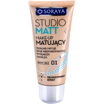 Soraya Studio Matt fondotinta opacizzante con vitamina E colore 01 Light Beige (Long Lasting, Ideally Mats, Conceals Imperfections, Smoothes and Moisturizes) 30 ml