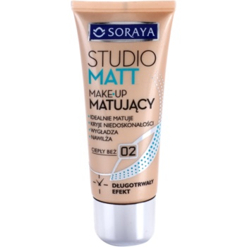 Soraya Studio Matt fondotinta opacizzante con vitamina E colore 02 Warm Beige (Long Lasting, Ideally Mats, Conceals Imperfections, Smoothes and Moisturizes) 30 ml