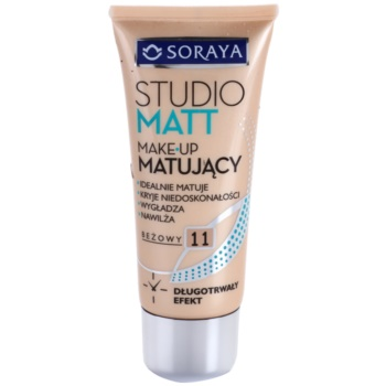 Soraya Studio Matt fondotinta opacizzante con vitamina E colore 11 Beige (Long Lasting, Ideally Mats, Conceals Imperfections, Smoothes and Moisturizes) 30 ml