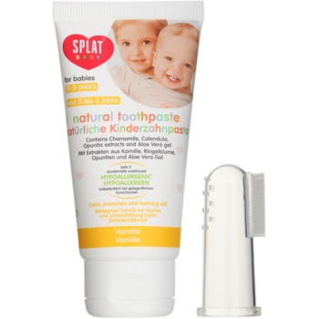 Splat Baby dentifricio naturale per bambini con spazzolino massaggiante aroma Vanilla (For Babies Aged 0-3 Years) 40 ml