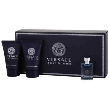 Versace pour Homme kit regalo IX eau de toilette 5 ml + shampoo 25 ml + balsamo post-rasatura 25 ml