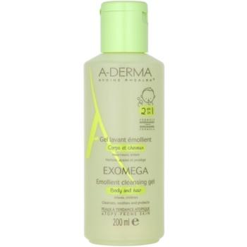 A-Derma Exomega gel de curățare emolient pentru corp și păr pentru copii  200 ml