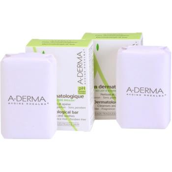 Fotografie A-Derma Original Care dermatologická mycí kostka pro citlivou a podrážděnou pokožku DUO BALENÍ 2 x100 g