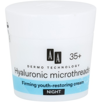 AA Cosmetics Dermo Technology Hyaluronic Microthreads crema de noapte pentru intinerire si netezie a pielii 35+